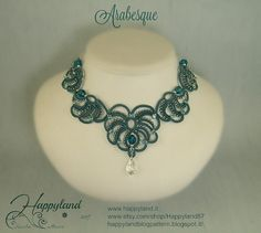 Collana di Arabesque needle tatting kit e pattern di Happyland87