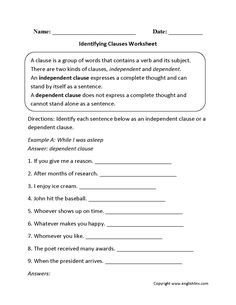 Identifying Clauses Worksheet