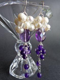 Amethyst and freshwater pearls earrings,    by IrisJewelryCreations
