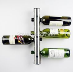 5Pcs/lot Stainless Steel Metal Wine Rack Holder 8 Optional Home Bar Wall Vertical Wine Bottle Stand Unique display Decoration