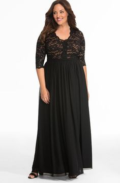 Women's Black Plus Size Lace Bodice Maxi Evening Gown with Lace Sleeves. Features a black lace bodice and full mesh skirt that enhances your curves and flatters your silhouette. Gowns With Sleeves, Maxi Dress With Sleeves, Lace Sleeves, Lace Dress, Plus Size Gowns, Plus Size Maxi Dresses, Plus Size Outfits, Evening Gowns Online, Lace Evening Gowns