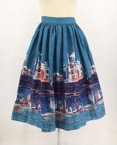50s Taj Mahal Border Print Skirt / 1950s Vintage Novelty Print | Etsy 1940s Dresses, Day Dresses, Travel Skirt, 50s Skirt, Shes Perfect, Full Skirts, Border Print, Novelty Print, Print Skirt