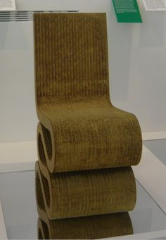Wiggle Side Chair by designer Frank O. Gehry in 1972, it is at Design Museum in London.