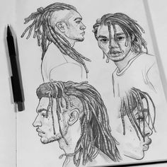 Some pencil stuff from my sketchbook! ✏ I find drawing dreads so relaxing, these are quite rushed but I'm definitely going to keep practicing them ♥ Thank you to everyone who has purchased something from my shop! The sale ends in just 3 days! Portrait Sketches, Art Sketches, Art Drawings, Drawing Studies, Art Studies, Guy Drawing, Drawing People, Drawing Ideas, Character Art