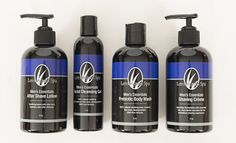 www.ourlemongrassspa.com/7128/ A customized blend of fresh spruce, birch and sandalwood essential oils, this gift set includes Shaving Creme, After Shave Lotion, Prebiotic Body Wash and Facial Cleansing Gel in a black organza bag, everything he needs for his daily routine.  Free of synthetic fragrances, PEG's and parabens.