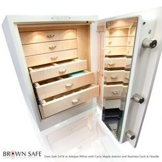 Gem Jewelry Safes White Box Safe With Custom 7 Drawer Organizers Mirror