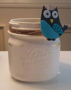 Painted with Acrylic Paint and slightly distressed. Kerr Mason Jars, Upcycling Projects, Barware, Upcycle, Owl, Painting, Upcycling, Upcycled Crafts, Owls