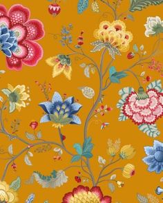 Pip Studio III behang Floral Fantasy Yellow 341037 - Behang | Behangwebshop.be
