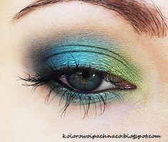#blue #green #shimmer #eye #makeup #look
