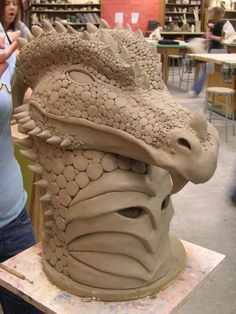 this is just a different veiw of the same dragon sculpture. This guy weighs alot, made out of stoneware clay. dragon mask again Ceramic Mask, Ceramic Clay, Ceramic Animals, Clay Animals, Sand Sculptures, Animal Sculptures, Ceramics Projects, Clay Projects, Dragon Mask