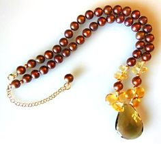 Smoky and citrine on chocolate pearls.