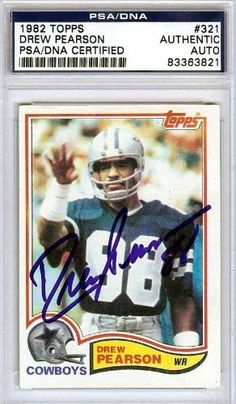 Drew Pearson Autographed/Hand Signed 1982 Topps Card PSA/DNA #83363821 by Hall of Fame Memorabilia. $56.95. This is a 1982 Topps Card that has been hand signed by Drew Pearson. It has been authenticated by PSA/DNA and comes encapsulated in their tamper-proof holder.