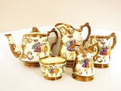 Vintage Wade Lusterware Tea Set Teapot Cream Sugar Stein Jug 5 piece Festival Pattern 1950s