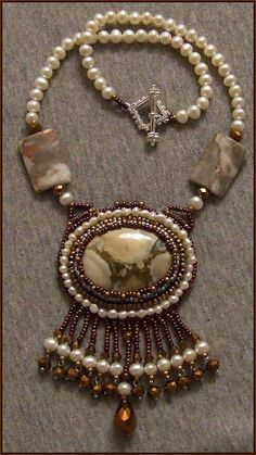 Picture Jasper and Freshwater Pearl Beaded Cabochon Necklace $55.00 on Etsy