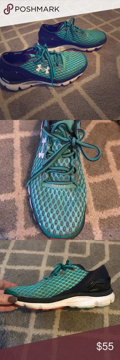 Woman's Under Armour walking/running shoes Very comfortable with stretchy material. My husband got me a 7 and I am a 7.5. Thought I would work them in but after one walk, decided I couldn't keep them. Great/like new condition. Under Armour Shoes Athletic Shoes