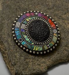 Very pretty use of polymer clay mosaics and silver. Lizards Jewelry Wearable Art by Liz Hall - Gallery