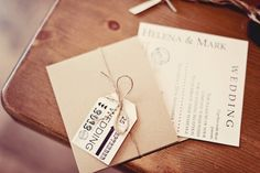 Rustic invitation - I like the tag, not specifically that one but the idea is cute
