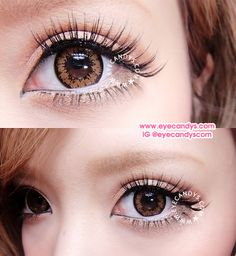 GEO Super Angel Series Circle Lenses. Enlarging Gyaru style fashion eye contact lens. http://www.eyecandys.com/geo-super-angel-brown/