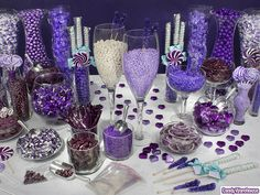 beaxh+wedding+theme+candy+table | Wedding-candy-buffet-all-purple-and-silver