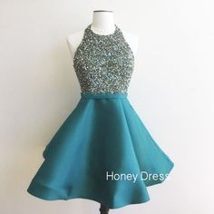 Elegant High Neck Beaded Halter Ball Gown,Teal Satin A-line Cocktail Dress With Open Back