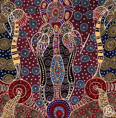 """Paintings by: © Colleen Wallace Nungari (Aboriginal, b. 1973, Utopia, Central Australia) """"Dreamtime Sisters"""" Series (Acrylic on Canvas)"""
