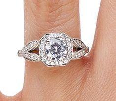 Luxe Victorian Split Shank Halo Diamond Ring