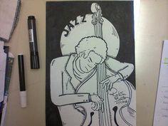 Jazz Bass. Nankin e canetinha preta sobre papel.