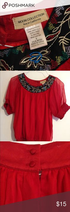 Mexican Chic Red Crepe Blouse Rich Red Flowing Crepe Blouse that gathers softly at the hip. Moon Collection Tops Blouses