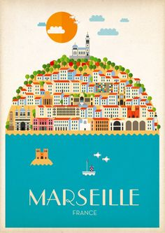 Travel Poster - Marseille - France - by Pierre Piech. Retro Poster, Vintage Travel Posters, Vintage Ads, City Poster, Poster S, Tourism Poster, Travel Illustration, Illustrations And Posters, France Travel