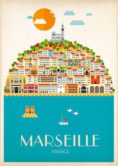 Marseille poster | Pierre Piech Illustration