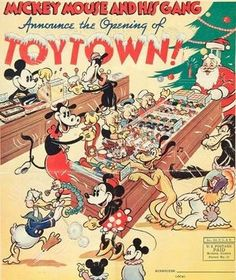 "Toytown promotion An example of the stunningly beautiful graphics often employed in Disney marketing campaigns - in this case, a ""Christmas 1936 ""news print flyer. Disney Love, Disney Magic, Disney Art, Disney Pixar, Walt Disney, Disney Villains, Mickey Mouse Art, Minnie Mouse, Mickey Mouse And Friends"