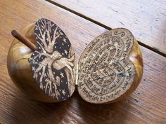 Hand turned wooden apple, with original salix pyrography design. find me on facebook.