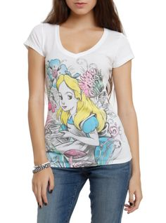 V-neck+tee+from+Disney's+Alice+In+Wonderland+with+a+sketch+of+Alice+and+pops+of+color.
