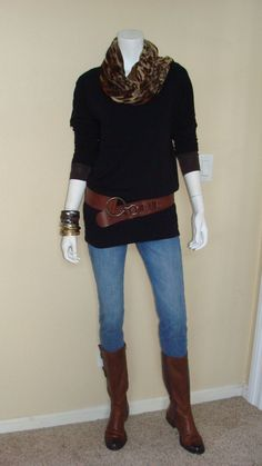 Daily Look:@CAbi Clothing Ruby Jean, Tissue Tee, Simple Cami, Cozy Tunic, Skin Print Scarf & belt #springfashion