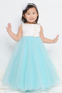 turquoise/ aqua blue tulle flower girl dresses 2015 scoop neckline handmade applique long flower girl dresses at weddings-in Flower Girl Dresses from Weddings & Events on Aliexpress.com | Alibaba Group