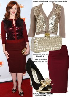dde148b5f32 christina hendricks WHAT TO WEAR TO HOLIDAY OFFICE PARTY SEQUIN SWEATER  SKIRT Office Holiday Party