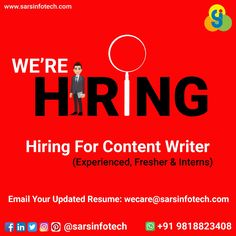Hello Everyone!  Sars Infotech (IT MNC) is hiring for Experienced, Fresher & Intern Content Writers.  Location - Noida Sector-62 & Rohini-Delhi  Interested candidates email their updated CV at wecare@sarsinfotech.com   #jobs #jobposting #job #jobsearching #lookingforjob #jobalerts #jobopenings #jobinterview #recruiter #itjobs #contentwriter #career #profession #careergoals #careerchange #jobsearch #work #itrecruiter #recruitment #careeradvice #jobtips #careertips #noida #delhi #campurhiring Career Change, Career Goals, Career Advice, Best Web Design, Job Posting, Web Design Company, Job Search, Online Business