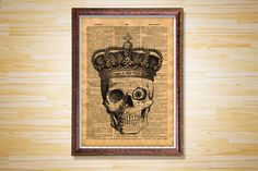 Royal anatomy poster Crown Skull vintage by CrowDictionaryPrints