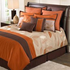 Simple Bedroom Pieces Pillow With One Throw Pillow,Wooden Large Bed Frames,Comforter Set With Leaf Pattern,Bedroom Decorations With White Thick Carpet, 10 designs in Brown And Orange Bedding gallery Brown Comforter, Queen Size Comforter Sets, King Size Comforters, King Bedding Sets, Luxury Bedding Sets, Orange Comforter, Cama Queen, Lit Simple, Bed Sets