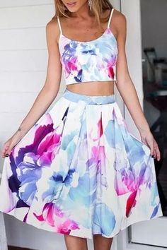 Summer Floral Midi Skirt and Cami Crop Top Floral Print Matching Set