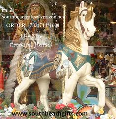 Merry Go Round Carousel Horse Life Size Birthday Party decorations.Original  replica Carousel Horse reproductions for Amusement Park, Circus & Carnival theme events! All  sizes & 12 colors with table top carousel horses in  centerpieces also from southbeachgifts.com order 732-714-1600