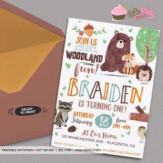 Woodland Birthday invitation DIY Forest Animals Woodland Party invitation Party animals invitation Watercolors Woodland Invitation Fox by CutePartyDash on Etsy https://www.etsy.com/listing/502895879/woodland-birthday-invitation-diy-forest