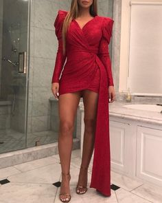 chicme / Glitter V Neck Puff Sleeve Ruched Vestido Bodycon Robe Bodycon, Glamouröse Outfits, Party Gowns, Elegant Dresses, Pattern Fashion, Ideias Fashion, Short Dresses, Mini Dresses, Women's Dresses