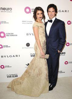 Ian Somerhalder et Nikki Reed à la soirée organisée par Elton John en l'honneur des Oscars.