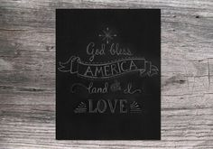 God Bless America 4th of July / Independence Day 8x10 chalkboard art printable digital download on Etsy, $5.00