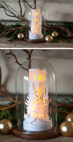 Paper Cut Winter Scene in a Glass Dome - Lia Griffith DIY Paper Lanterns Paper lanterns come in dive Christmas Decorations For The Home, Noel Christmas, Christmas Crafts For Kids, All Things Christmas, White Christmas, Holiday Crafts, Xmas, Diy Fest, Diy Papier