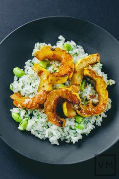 Vegan Miso-Harissa Delicata and Edamame Dill Rice | Vegan Miam
