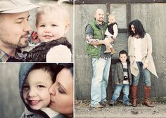 family photos: tight shots of parents individually - group photo against neutral background