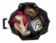 Mod Tortoise Carry-On Rolly with Great Gatsby golds :: hue studio inc