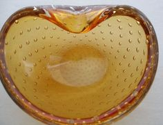 Incredibly GORGEOUS Modern MURANO Art Glass BOWL Fantastic BUBBLES Golden Amber